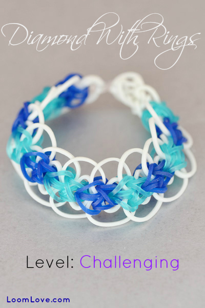 diamond with rings rainbow loom