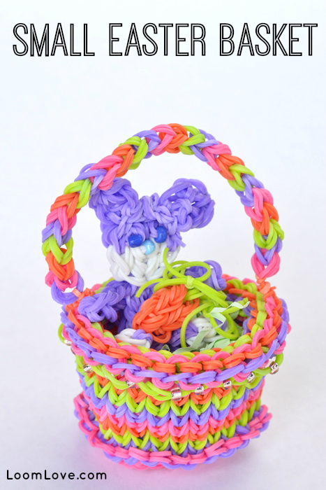 How To Make A Small Basket Weave Loom Bracelet : How to make a small rainbow loom easter basket