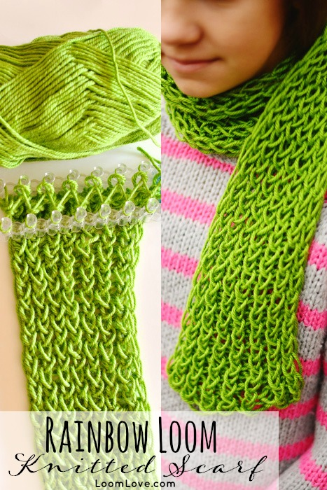 This Gorgeous Knitted Scarf Was Made On Our Rainbow Loom We Used Soft Acrylic Yarn In A Lovely Shade Of Green Love How It Turned Out